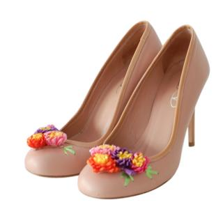 REDValentino Nude Floral Applique Pumps