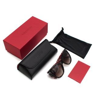 Valentino Red/Tortoiseshell Logo Rockstud Sunglasses
