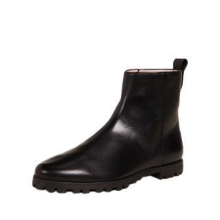 Stuart Weitzman Riley Black Leather Ankle Boots