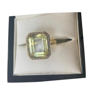 Annoushka Lemon Quartz & Diamond Ring 18ct Gold
