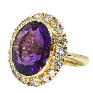 Bespoke Amethyst & Diamond 18ct Yellow Gold Ring