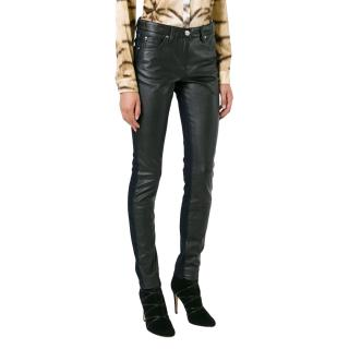 Roberto Cavalli Black Leather Look Jeans