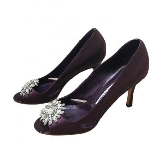 Manolo Blahnik Purple Satin Crystal Embellished Pumps
