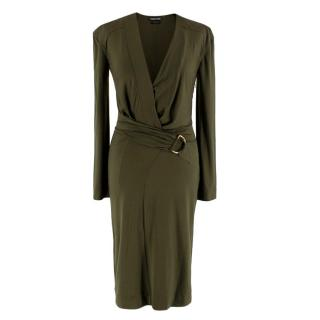 Tom Ford Khaki Plunge Neck D-Ring Wrap Style Dress