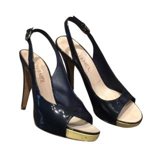 Chanel Patent Slingback Navy Pumps