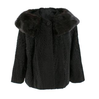 Bespoke Astrakhan and Mink Black Cape Coat - Belonged to Lauren Bacall