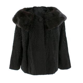 Bespoke Astrakhan and Mink Black Cape Coat - Belonged to Lauren Bacall