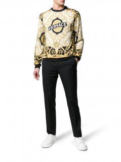 Versace Baroque hibiscus Print Silk Sweater
