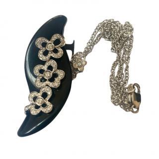 Bespoke Diamond Set Onyx Pendant Necklace