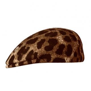 Robert Cavalli Wool Leopard Print Hat