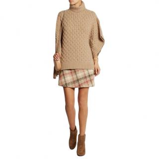 Michael Michael Kors Camel Cable-knit turtleneck poncho