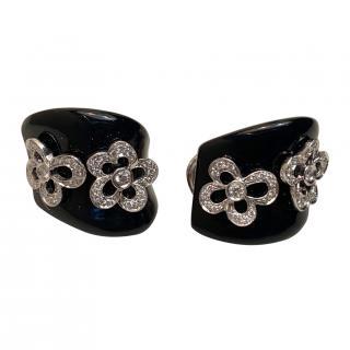 Bespoke Diamond Floral Onyx Earrings