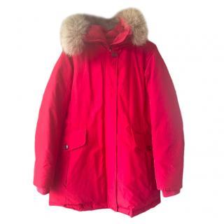 Woolrich Red Fur Trim Puffer Coat