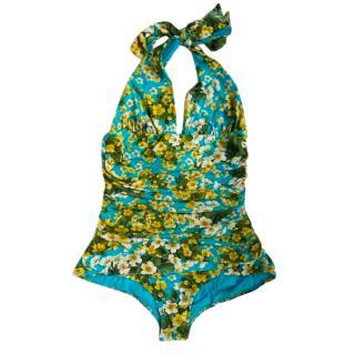 Dolce & Gabbana Blue Floral Print Halterneck Swimsuit