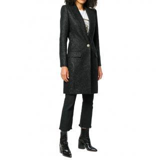 Balmain Black Iridescent Tweed Longline Coat