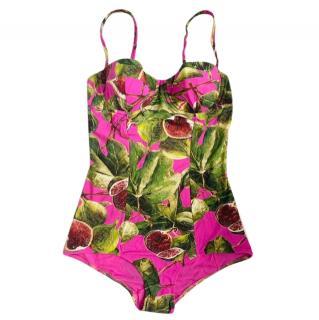 Dolce & Gabbana Pink Fig Print Bikini