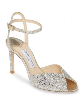 Jimmy Choo Sacora Peep-toe Glitter Sandals