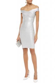 Herve Leger Metallic Off-Shoulder Bandage Dress