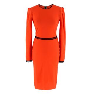 Roksanda Ilincic Orange Wool Long Sleeve Mini Dress