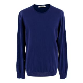 Versace Electric Blue Wool Thin Knit Round-Neck Jumper