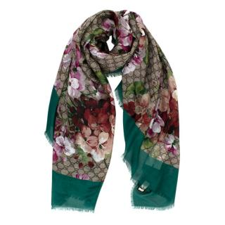 Gucci Supreme Blooms Emerald Green Trim Scarf