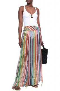Caroline Constas Lame-trimmed Striped Silk Georgette Skirt