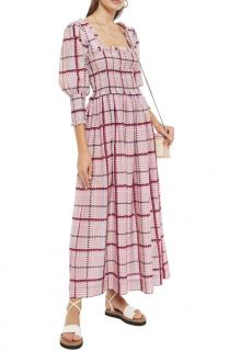 Ganni Pink Checked Shirred Cotton Silk Blend Maxi Dress