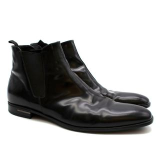 Prada Black Patent Leather Chelsea Boots