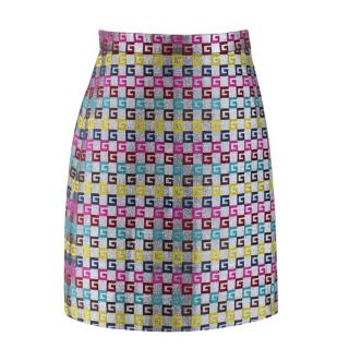 Gucci Silver Metallic 'G' Monogram Skirt