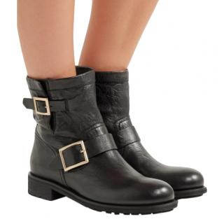 Jimmy Choo Black Leather Youth Biker Boots