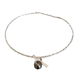Bespoke Tahitian Pearl 18ct White Gold Diamond Necklace
