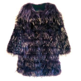 Hockley Goat & Raccoon Fur Purple Coat