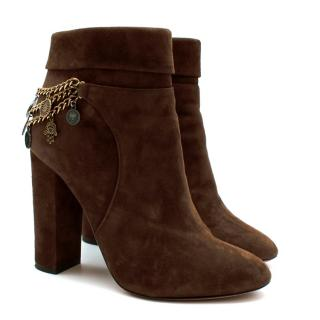 Aquazzura Brown Suede High Heel Ankle Boots with Medallion Chain