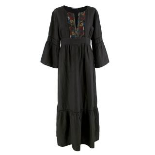 Kori Charcoal Cotton Blend Embroidered Maxi Dress