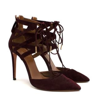 Aquazzura Burgundy Suede Strappy Lace-up Sandals