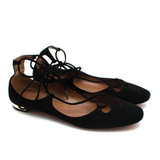 Aquazzura Black Suede Lace-up Flat Sandals