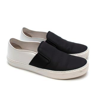 Chanel Black & White Slip-on Sneakers