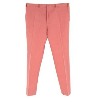 Donato Liguori Salmon Pink Hand Tailored Linen Blend Trousers