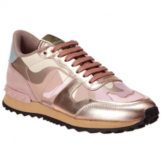 Valentino Rockstud Camouflage Canvas & Leather Sneaker