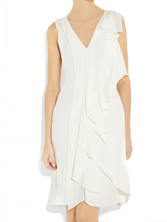 Oscar De La Renta White Asymmetric Ruffle Dress
