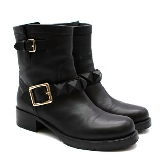 Valentino Rockstud Military Black Ankle Boots