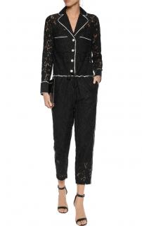Robert Rodriguez Black Guipure Lace Jumpsuit
