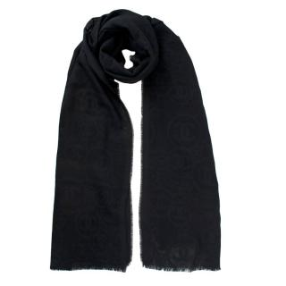 Chanel Black CC Cashmere Scarf
