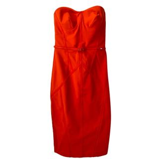 Elisabetta Franchi Red Leather Trimmed Dress