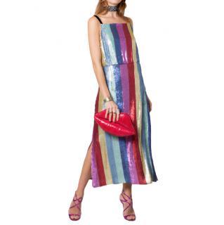 Rixo zara rainbow striped sequin dress
