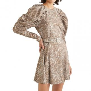 Rotate Birger Christensen Snake Print Ruffled Mini Dress