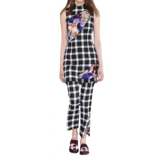 Christopher Kane Checked Floral Peep Wool-blend Runway Dress