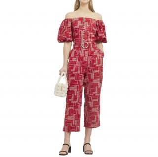Shrimps Red Paisley Cotton Top & Trouser with Pearls