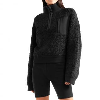 T by Alexander Wang Black Wool Blend Fleece Sweater