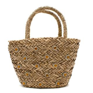 Warehouse x Shrimps Straw Mini Basket Bag with Crystals